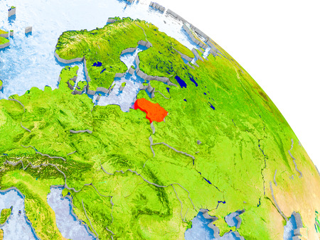 Illustration of Lithuania highlighted in red on glob with realistic surface with visible country borders, and water in the oceans. 3D illustration.