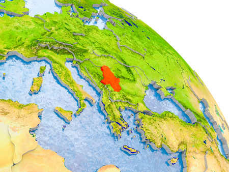 Illustration of Serbia highlighted in red on glob with realistic surface with visible country borders, and water in the oceans. 3D illustration.