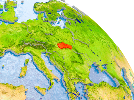 Illustration of Slovakia highlighted in red on glob with realistic surface with visible country borders, and water in the oceans. 3D illustration.