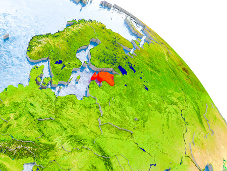 Illustration of Estonia highlighted in red on glob with realistic surface with visible country borders, and water in the oceans. 3D illustration.