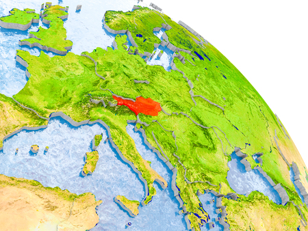 Illustration of Austria highlighted in red on glob with realistic surface with visible country borders, and water in the oceans. 3D illustration.