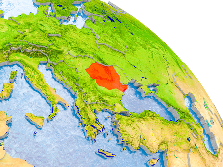 Illustration of Romania highlighted in red on glob with realistic surface with visible country borders, and water in the oceans. 3D illustration.