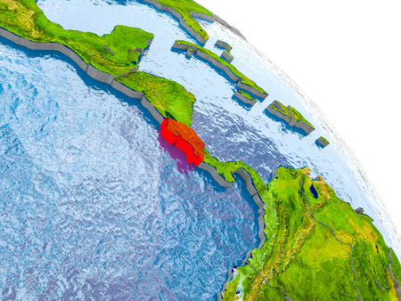 Illustration of Costa Rica highlighted in red on glob with realistic surface with visible country borders, and water in the oceans. 3D illustration.