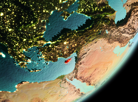 Cyprus in the morning highlighted in red on planet Earth. 3D illustration. Stock Photo