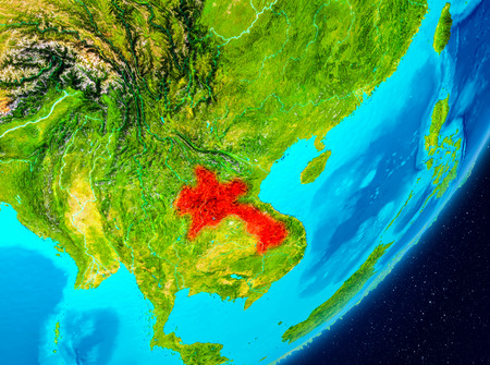 Map of Laos as seen from space on planet Earth. 3D illustration.