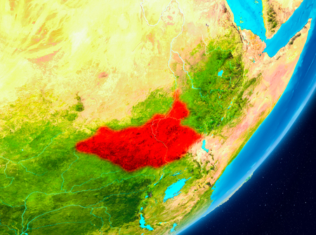 Map of South Sudan as seen from space on planet Earth. 3D illustration.