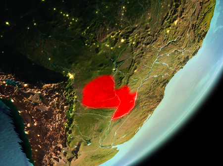 Paraguay in the morning highlighted in red on planet Earth. 3D illustration.