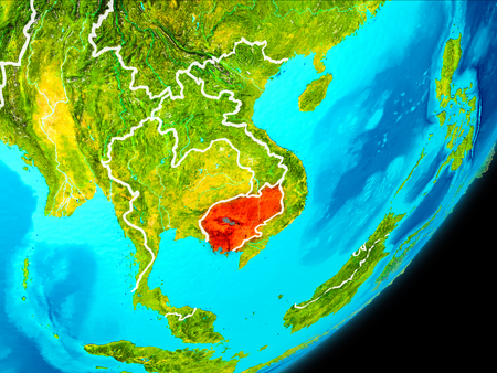 Map of Cambodia in red as seen from space on planet Earth with white borderlines. 3D illustration. Stock Photo