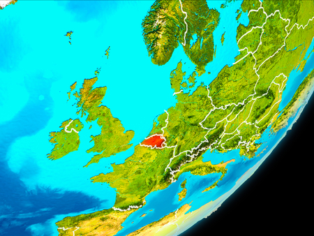 Map of Belgium in red as seen from space on planet Earth with white borderlines. 3D illustration.