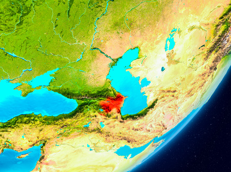 Map of Azerbaijan as seen from space on planet Earth. 3D illustration.