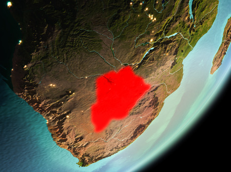 Botswana in the morning highlighted in red on planet Earth. 3D illustration. Stock Photo