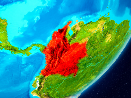 Map of Colombia as seen from space on planet Earth. 3D illustration.