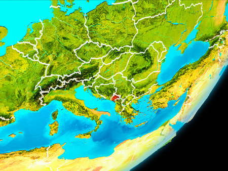 Map of Montenegro in red as seen from space on planet Earth with white borderlines. 3D illustration. Stock Photo