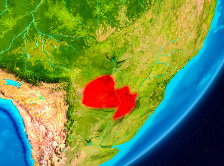 Map of Paraguay as seen from space on planet Earth. 3D illustration.