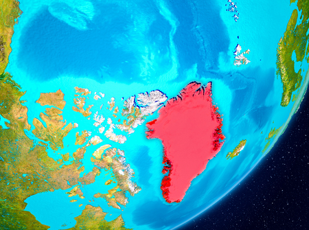 Map of Greenland as seen from space on planet Earth. 3D illustration. Stock Photo