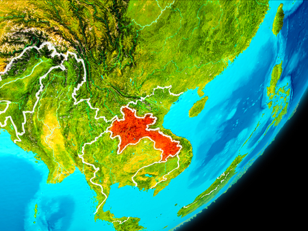 Map of Laos in red as seen from space on planet Earth with white borderlines. 3D illustration.