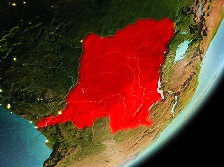 Democratic Republic of Congo in the morning highlighted in red on planet Earth. 3D illustration. Stock Photo
