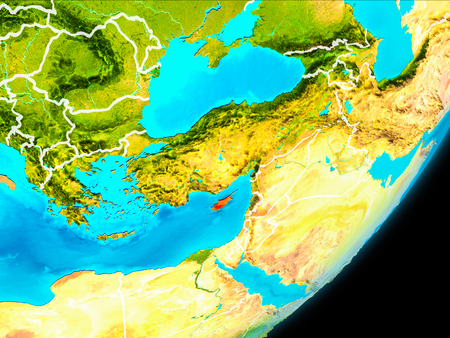 Map of Cyprus in red as seen from space on planet Earth with white borderlines. 3D illustration.