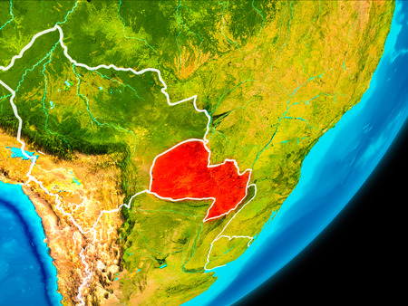 Map of Paraguay in red as seen from space on planet Earth with white borderlines. 3D illustration.