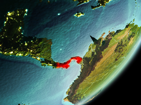 Panama in the morning highlighted in red on planet Earth. 3D illustration.