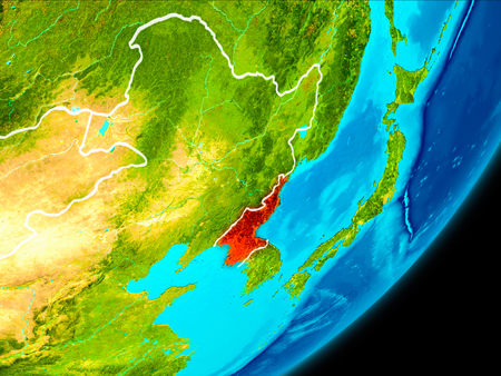 Map of North Korea in red as seen from space on planet Earth with white borderlines. 3D illustration.