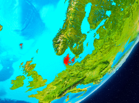 Map of Denmark as seen from space on planet Earth. 3D illustration. Stock Photo
