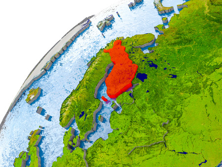 Finland on simple globe with visible country borders and realistic water in the oceans. 3D illustration.