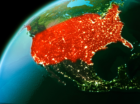 Evening over USA as seen from space on planet Earth. 3D illustration.