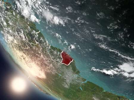 Illustration of French Guiana as seen from Earth's orbit during sunset with visible country borders. 3D illustration.