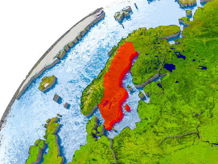 Sweden on simple globe with visible country borders and realistic water in the oceans. 3D illustration.