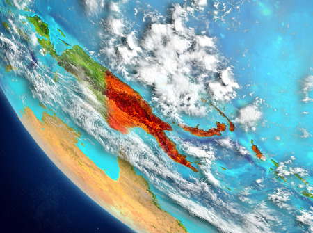 Papua New Guinea from orbit of planet Earth with highly detailed surface textures. 3D illustration. Stock Photo
