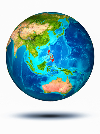 Philippines in red on model of planet Earth hovering in space. 3D illustration isolated on white background. 写真素材