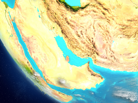 Qatar from orbit of planet Earth with highly detailed surface textures. 3D illustration.