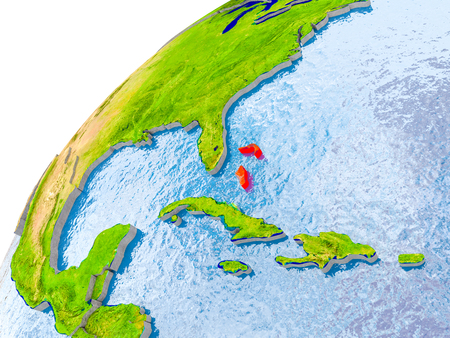Bahamas on simple globe with visible country borders and realistic water in the oceans. 3D illustration.