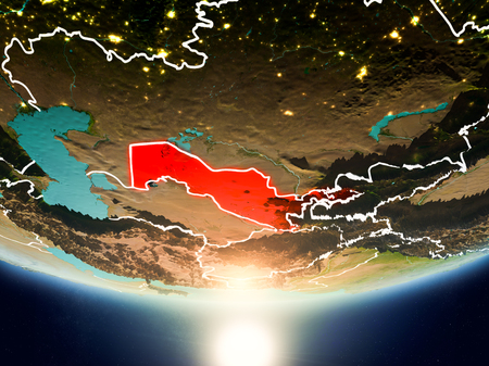 Uzbekistan from orbit of planet Earth in sunrise with highly detailed surface textures and visible country borders. 3D illustration.