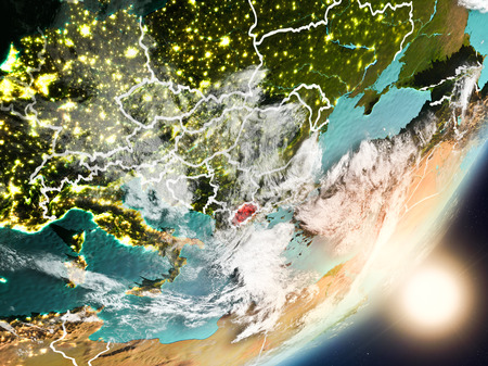 Macedonia from space with highly detailed surface textures and visible country borders. 3D illustration. Stock Photo