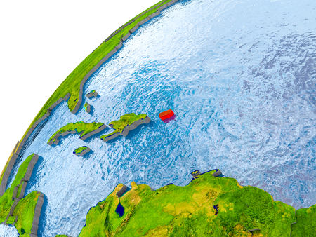 Puerto Rico on simple globe with visible country borders and realistic water in the oceans. 3D illustration.