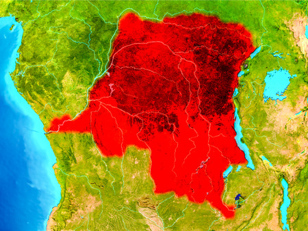 Democratic Republic of Congo highlighted in red on planet Earth. 3D illustration.