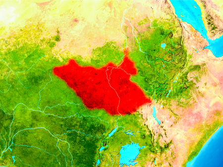 South Sudan highlighted in red on planet Earth. 3D illustration. 스톡 콘텐츠 - 95898662
