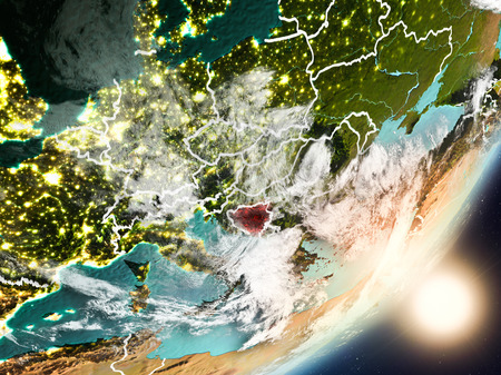 Bosnia and Herzegovina from space with highly detailed surface textures and visible country borders. 3D illustration. Stock Photo