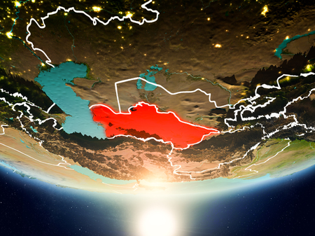 Turkmenistan from orbit of planet Earth in sunrise with highly detailed surface textures and visible country borders. 3D illustration.