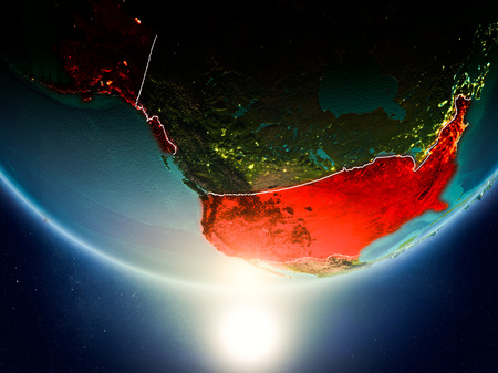 USA from orbit of planet Earth in sunrise with highly detailed surface textures and visible country borders. 3D illustration.