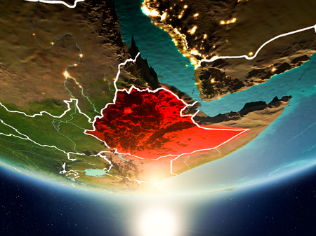 Ethiopia from orbit of planet Earth in sunrise with highly detailed surface textures and visible country borders. 3D illustration. Stok Fotoğraf