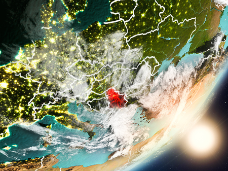 Serbia from space with highly detailed surface textures and visible country borders. 3D illustration. Stock Photo