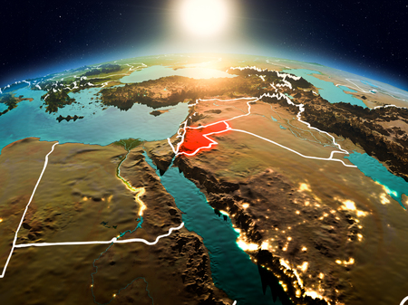 Sunrise above Jordan highlighted in red on model of planet Earth in space with visible country borders. 3D illustration.