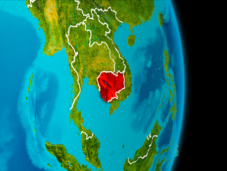Cambodia in red on planet Earth with visible borderlines. 3D illustration.