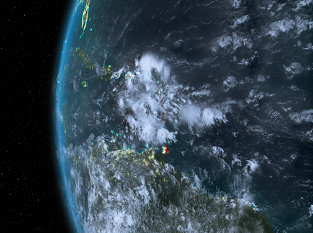 Night map of Caribbean as seen from space on planet Earth. 3D illustration.