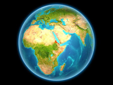 Eritrea in red on planet Earth as seen from space on full sphere. 3D illustration.