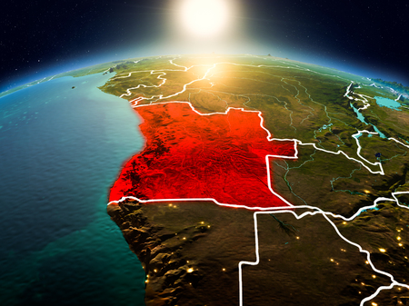 Sunrise above Angola highlighted in red on model of planet Earth in space with visible country borders. 3D illustration. Stok Fotoğraf - 95905049