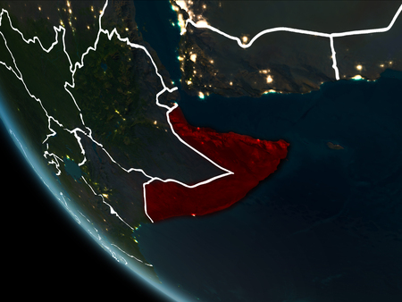 Satellite view of Somalia highlighted in red on planet Earth at night with borderlines and city lights. 3D illustration.
